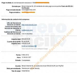 Nuevo comprobante de pago de Beruby (59€)-Beruby es fiable