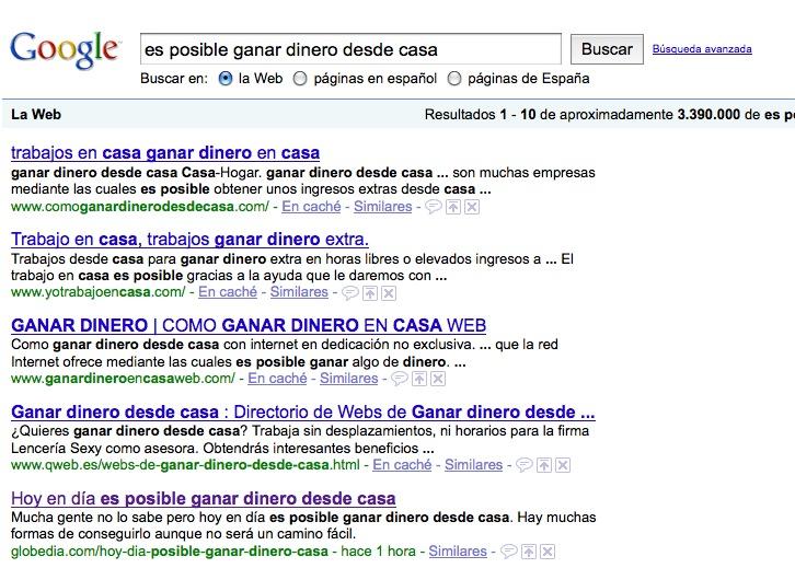 Mi artículo en las búsquedas de Google
